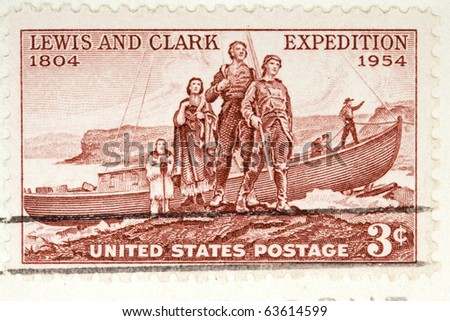 CIRCA 1954: A postage stamp printed in the USA, Shows Lewis and Clark Expedition, Circa 1954
