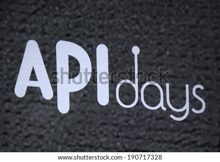 "CIRCA APRIL 2014 - BERLIN: the logo of the brand ""API Days"", Berlin."