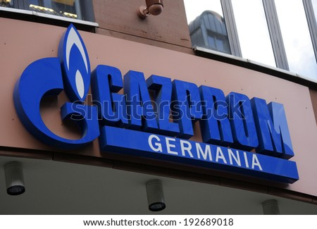"CIRCA APRIL 2014 - BERLIN: the logo of the brand ""Gazprom"", Berlin."