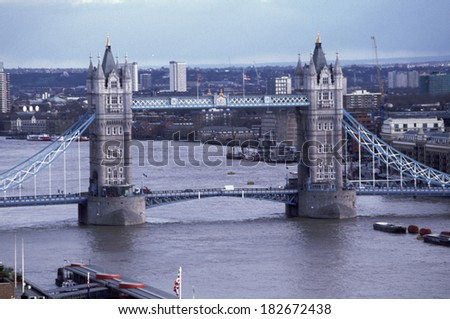 CIRCA APRIL 2004 - LONDON: aerial view on the Tower Bridge and River Thames, London, England, Great Britain.