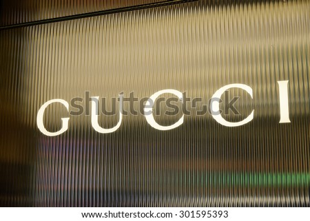 "CIRCA JULY 2015 - HONG KONG: the logo of the brand ""Gucci"", Hong Kong."