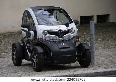 "CIRCA JULY 2014 - ZURICH: a ""Renault Twizy"" electric car. - stock photo"
