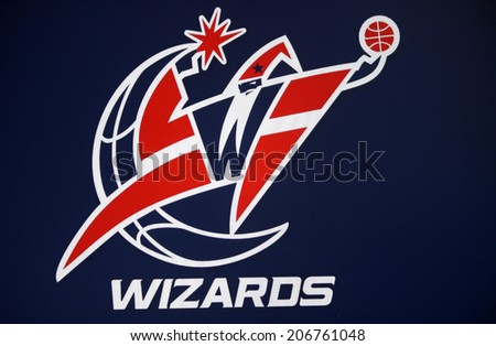 "CIRCA JUNE 2014 - BERLIN: the logo of the NBA basketball club ""Washington Wizards"". - stock photo"
