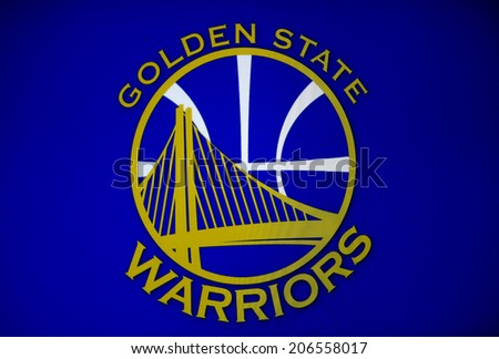 "CIRCA JUNE 2014 - BERLIN: the logo of the US American Basketball club ""Golden State Warriors""."