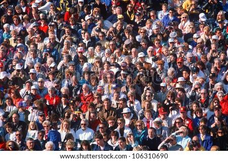 CIRCA 1990 - Large crowd of people USA - stock photo