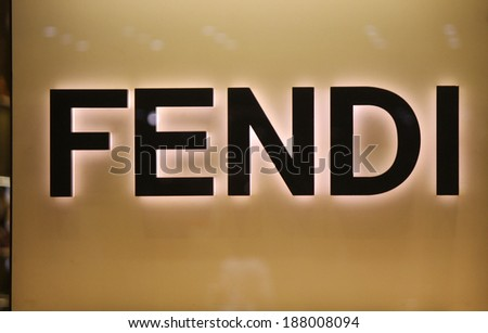 "CIRCA MARCH 2014 - BERLIN: the logo of the brand ""Fendi"", Berlin."