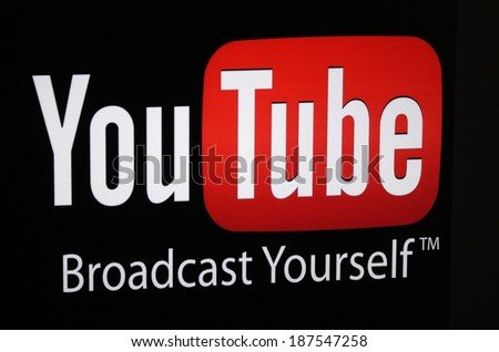 "CIRCA MARCH 2014 - BERLIN: the logo of the brand ""Youtube"". - stock photo"