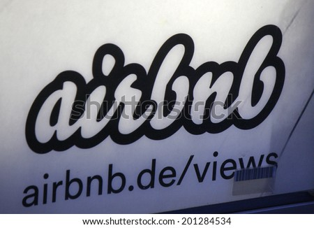 "CIRCA MAY 2014 - BERLIN: the logo of the brand ""airbnb""."