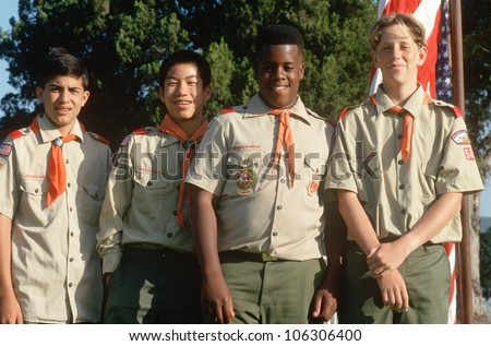 CIRCA 1993 - Multi-cultural group of Boy Scouts at Veteran's Cemetery, Los Angeles, California - stock photo