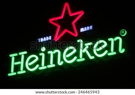 """CIRCA NOVEMBER 2014 - BERLIN: the logo of the brand """"Heineken"""", Berlin."""