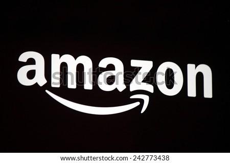 "CIRCA OCTOBER 2014 - BERLIN: the logo of the brand ""Amazon"", Berlin. - stock photo"