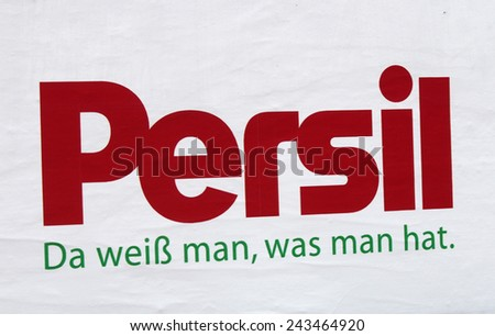 "CIRCA OCTOBER 2014 - BERLIN: the logo of the brand ""Persil"", Berlin."