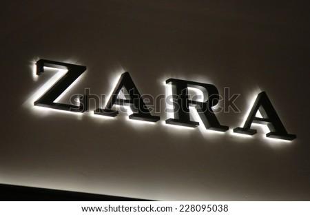 "CIRCA SEPTEMBER 2014 - BERLIN: the logo of the brand ""Zara""."