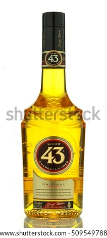 CIRCA SEPTEMBER 2016 - GDANSK: Licor 43 isolated on white. It is Spanish liqueur made from citrus and fruit juices, flavored with vanilla and other herbs and spices for  total 43 different ingredients