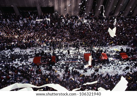 CIRCA 1986 - This is a Ticker Tape Parade at Broadway and Wall Street celebrating the Mets becoming the world champions. There were about 2.2 million people. It took place in the Canyon of Heroes. - stock photo