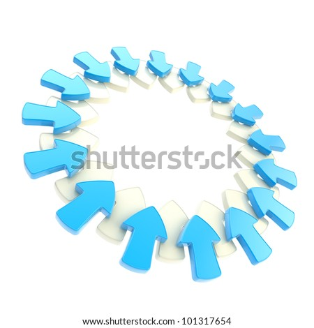Circle aligned attention blue arrows isolated on white - stock photo