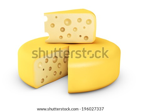 circle and a piece of cheese on white background
