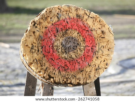Circle archery and javelin target outdoor as background illustration - stock photo