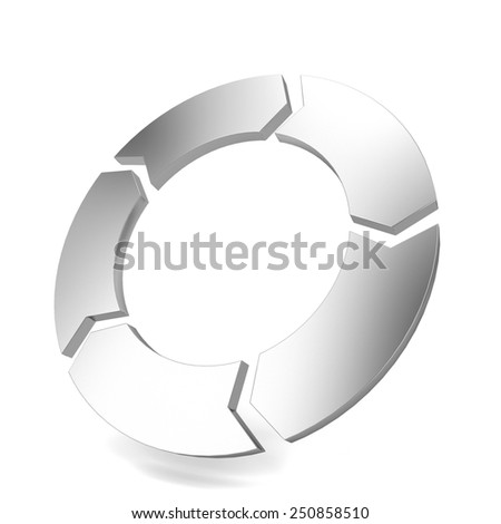 Circle arrow. 3d illustration isolated on white background  - stock photo