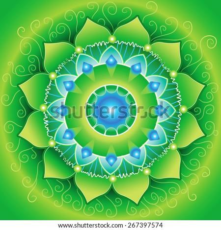 circle background, bright green mandlala of anahata chakra - stock photo