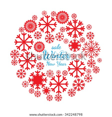 Circle banner with Christmas and New Year celebration elements. Design element for Christmas card, Christmas banner or flyer with snowflake. New year celebration pictograms - stock photo