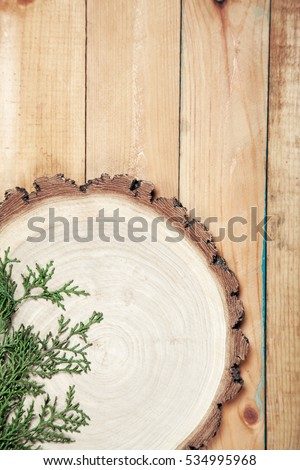 Circle board with leaves of thuja on wooden background