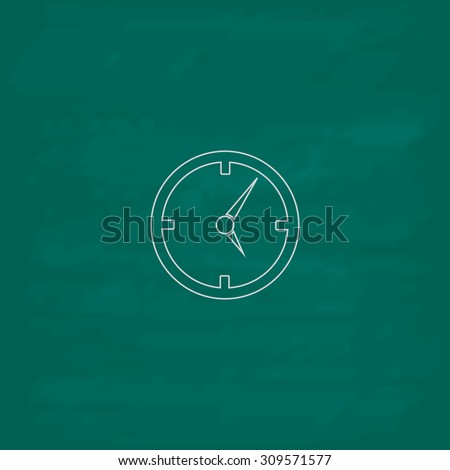 Circle Clock. Outline icon. Imitation draw with white chalk on green chalkboard. Flat Pictogram and School board background. Illustration symbol