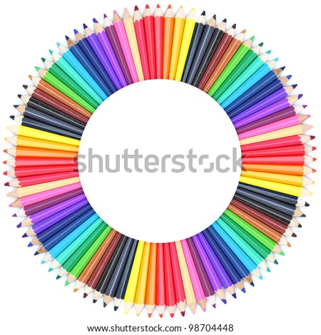 Circle color chart made of color pencils - stock photo