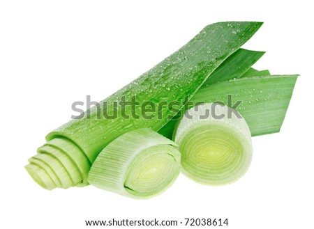 Circle cross-section and stem of green leek isolated on white - stock photo