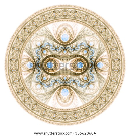 Circle design. Abstract fractal pattern, symmetric royal background with diamonds.  - stock photo