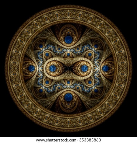 Circle design. Abstract fractal pattern, symmetric royal gold background with diamonds.  - stock photo
