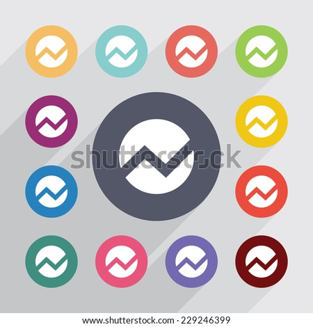 Circle diagram circle flat icons set em ilustrao stock 229246399 circle diagram circle flat icons set round colourful buttons ccuart Images