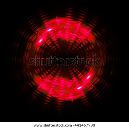 Circle digital data background,red abstract light hi tech pixel internet technology, Cyber security concept, Cyber data digital computer. eye scan virus, motion move speed - stock photo