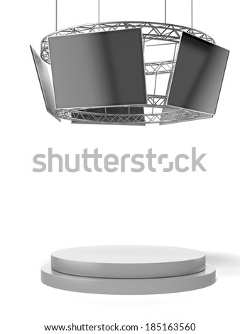 Circle exhibition stand with tv and pedestal - stock photo