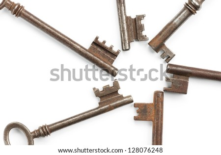 Circle, formed by old keys. Isolated on white with soft shadows. Clipping path included. - stock photo