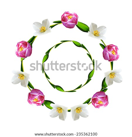 circle frame flowers - stock photo