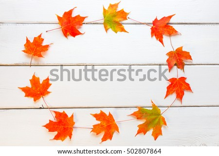 Circle frame of autumn maple leaves on white wooden background with copy space for your text.