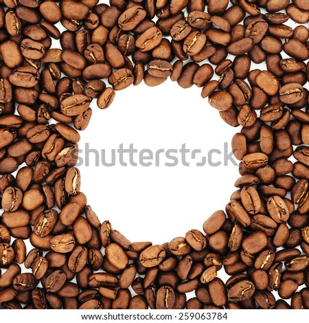 Circle frame of coffee beans isolated on white background may use as background or texture - stock photo