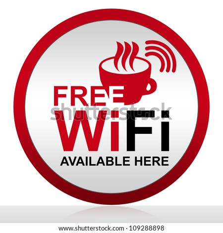 Circle Free Wifi Available Here With Glossy Style for Coffee Shop Isolated on White Background - stock photo