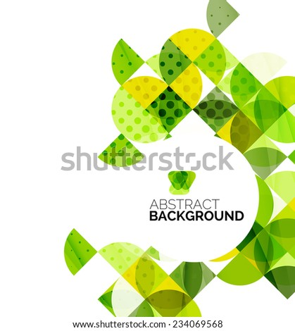 Circle geometric abstract background, colorful business or technology design for web on white with sample text - stock photo