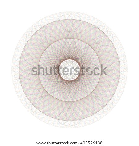 Circle guilloche pattern for certificate and other security documents - isolated on white background. Illustration. - stock photo