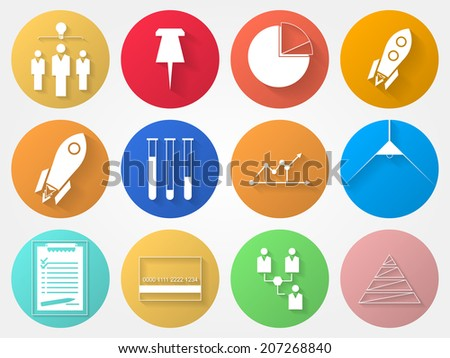 Circle icons for outsource. Set of colored circle icons with outsource symbols. - stock photo
