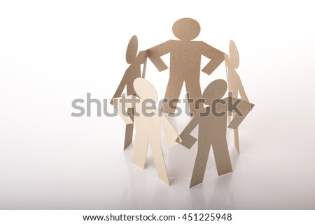 circle joining of five paper figure in standing akimbo posture on white background