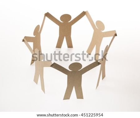 circle joining of six paper figure in hand up on white background - stock photo