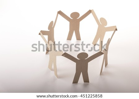 circle joining of six paper figure in hand up posture on white background - stock photo