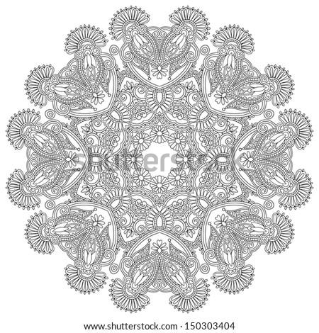 Circle lace ornament, round ornamental geometric doily pattern, black ...