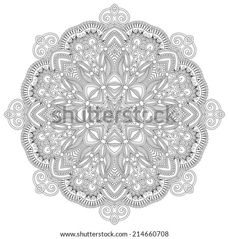 Circle lace ornament, round ornamental geometric doily pattern, black and white collection, raster version