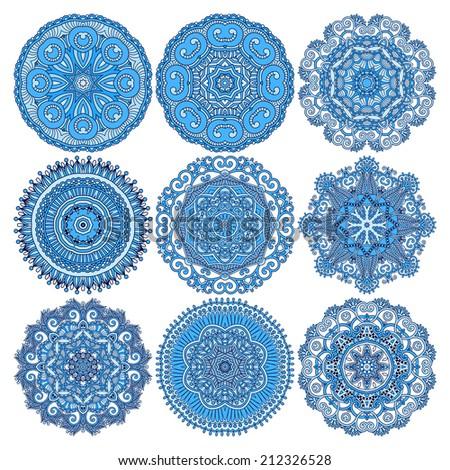 Circle lace ornament, round ornamental geometric doily pattern, christmas snowflake decoration, raster version - stock photo
