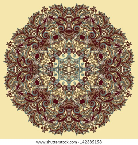 Circle lace ornament, round ornamental geometric doily pattern, raster version