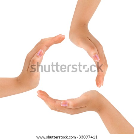 Circle made of hands isolated on white background - stock photo